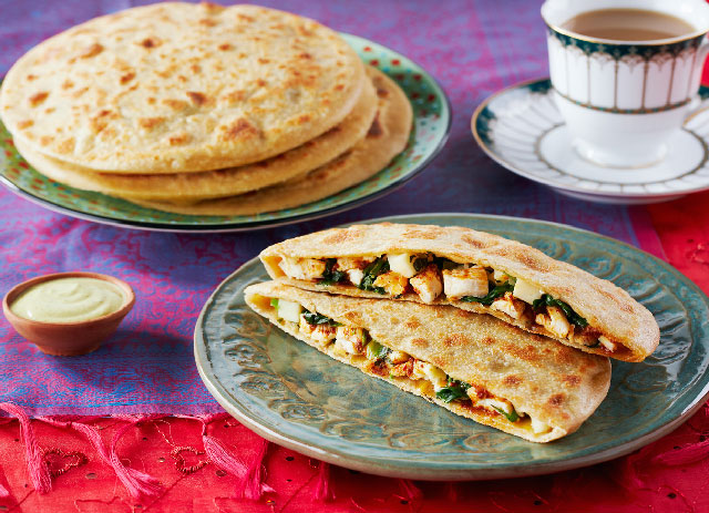 Chicken, Spinach and Paneer Stuffed Paratha