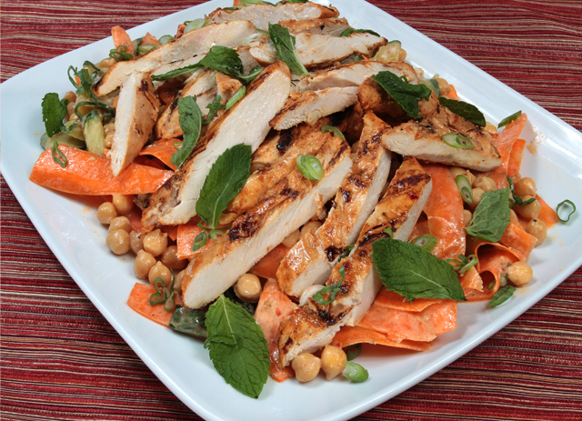 Harissa Grilled Chicken with Chickpea, Carrot and Cucumber Salad