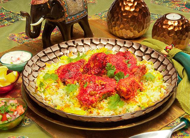 Poulet Tikka Biryani Avec Riz Basmati Indien Epice Mina