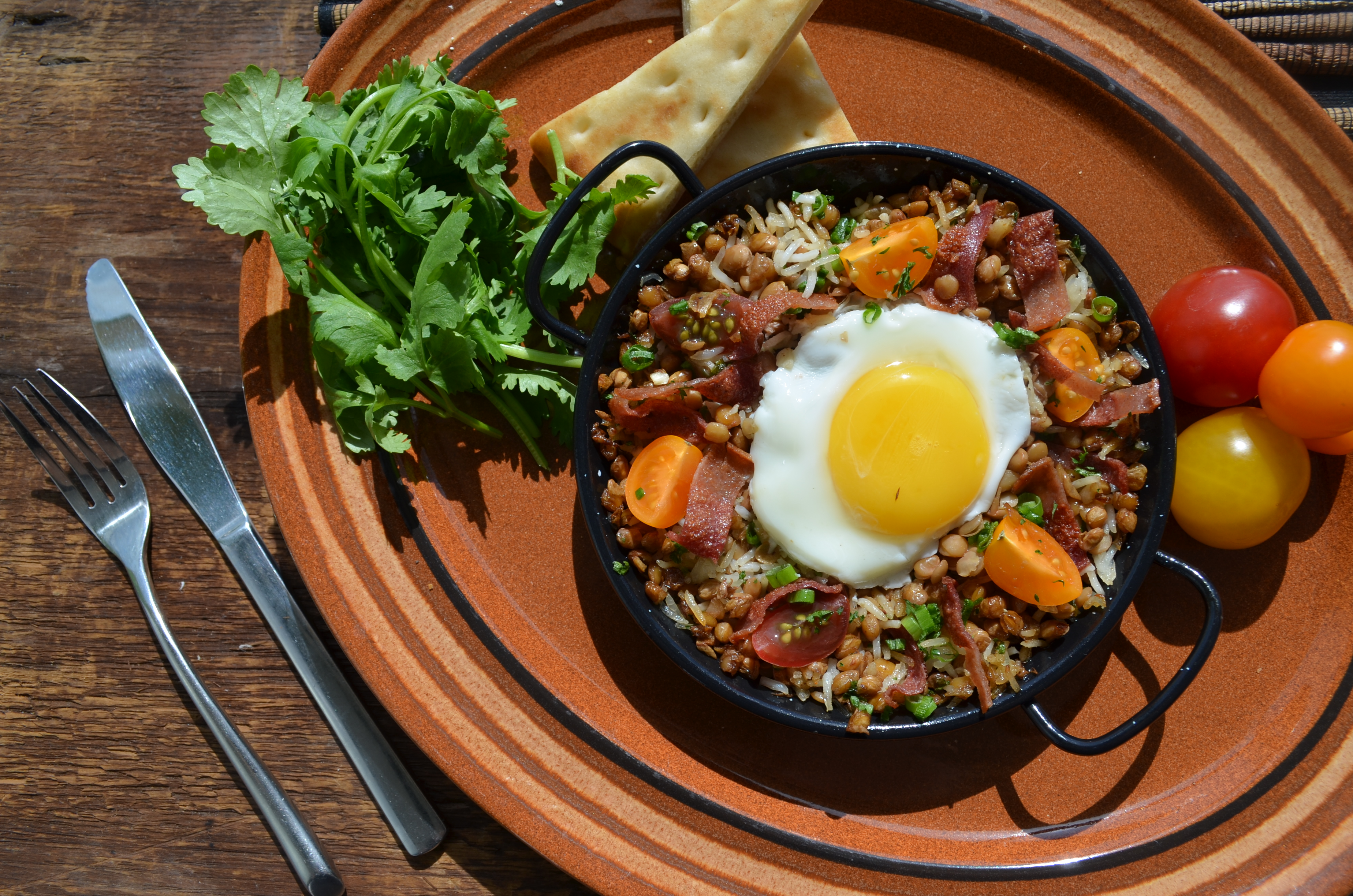 Mina Grilled Chicken Strips and Spiced Lentils Baked Eggs