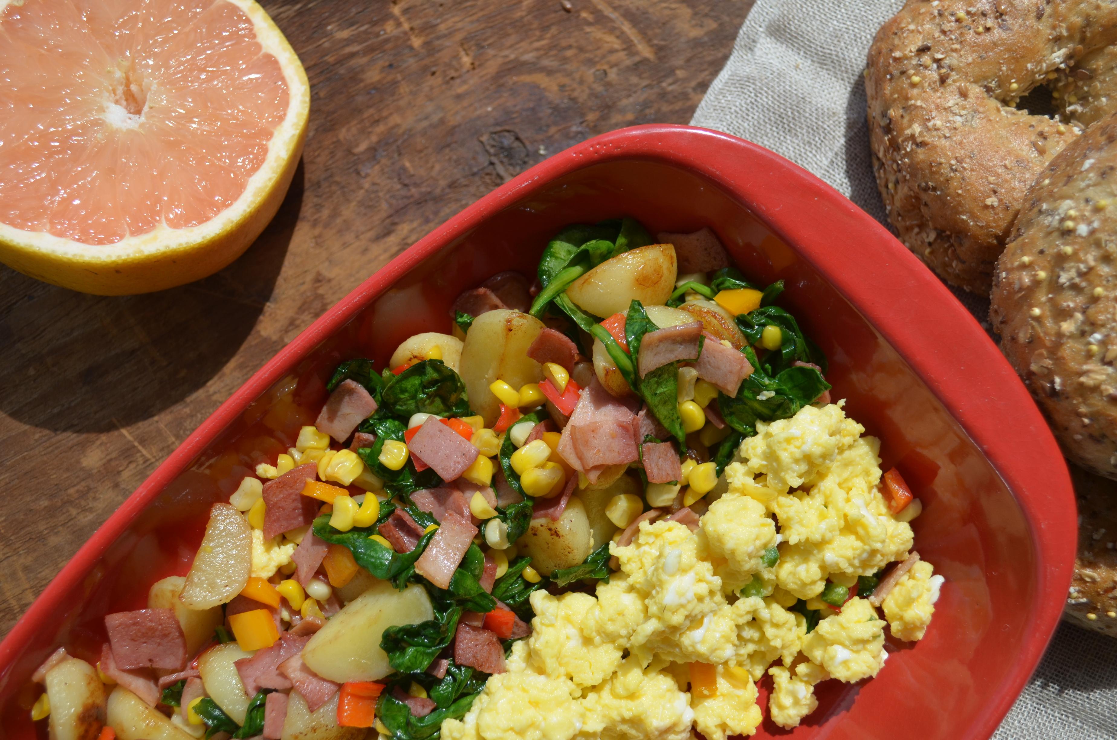 Potato, Spinach & Grilled Chicken Strip Hash