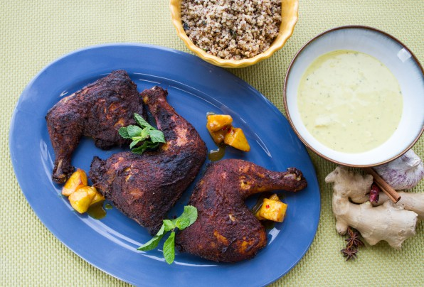 Tandoori Chicken Legs with Curry Pineapple Coconut Sauce and Mint Quinoa