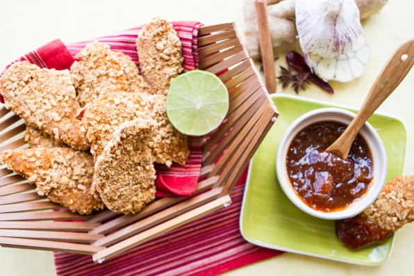 Crunchy Chicken Tikka Tenders with Mango Tamarind Dipping Sauce