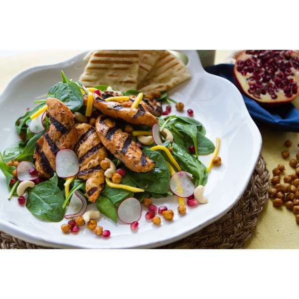Grilled Chicken Tikka Tender Spinach Salad