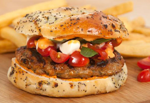 Three Cheese and Pepper Chicken Burger