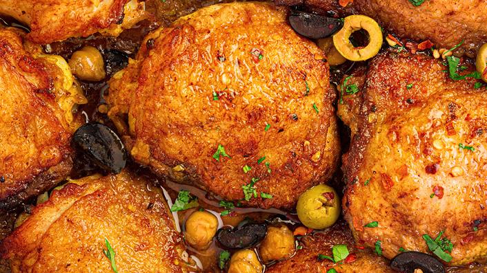 Tomato Saffron Braised Chicken Thighs with Olives